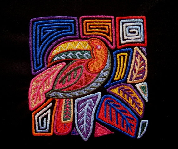 Mola Toucan Embroidered Quilt Fabric  Block by tuesdayrose on Etsy, $10.50