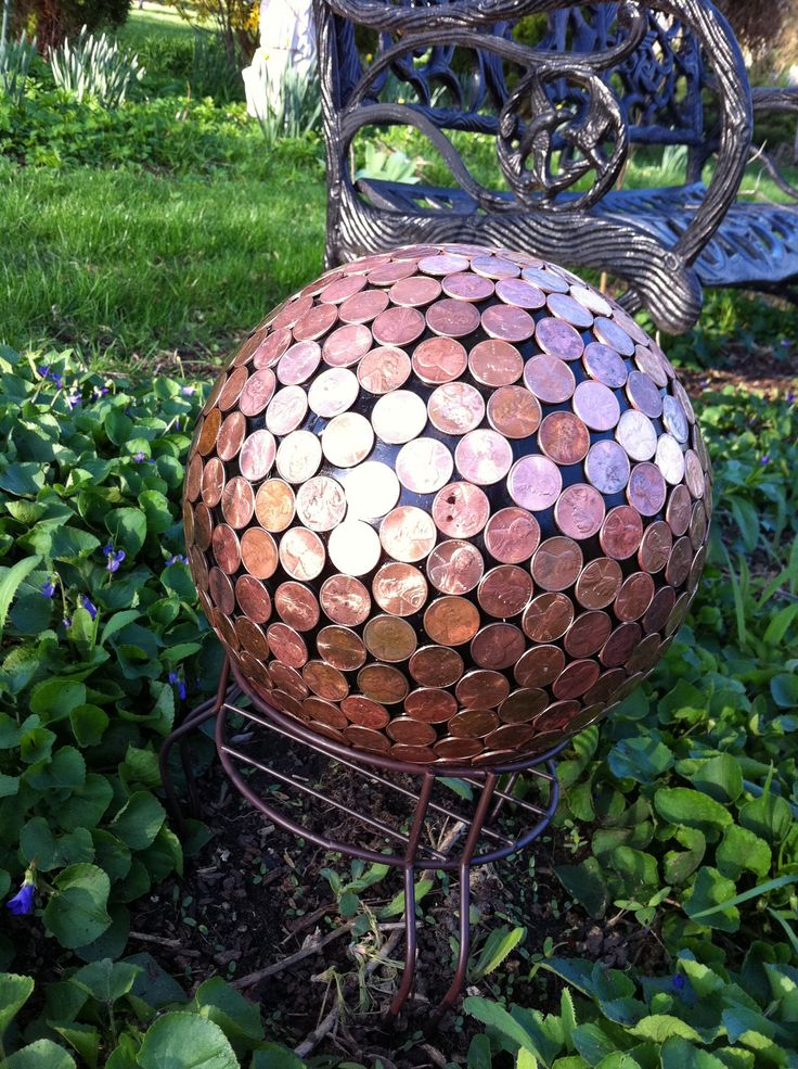 Penny bowling ball lawn art craft pinterest art for Yard art ideas