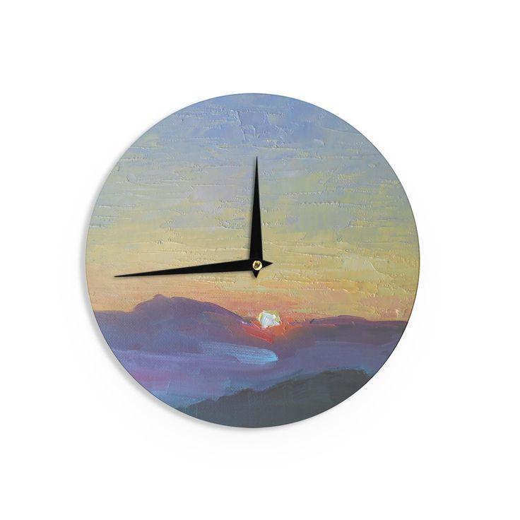 "Carol Schiff ""Mountain Sunset"" Orange Nature Wall Clock"