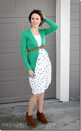 printed skirt, boyfriend cardigan, belt, ankle boots- ONE little MOMMA