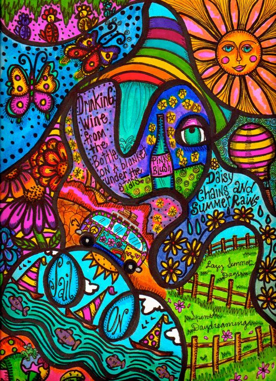Hippie Art Original Summer Dreams by DawnCollinsArt on Etsy, $40.00