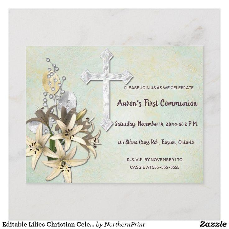 editable lilies christian celebration invitation  zazzle