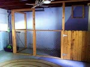 Built in dog kennel inside workshop/garage.