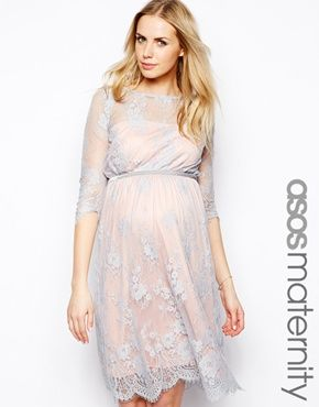ASOS Maternity Lace Midi Dress With Scalloped Detail - would be cute for baby shower (sort of pink and blue)