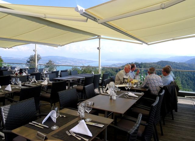 Top of Zurich - Outdoor Terrace of UTO Kulm Restaurant Allegra in Uetliberg, Zurich, Switzerland