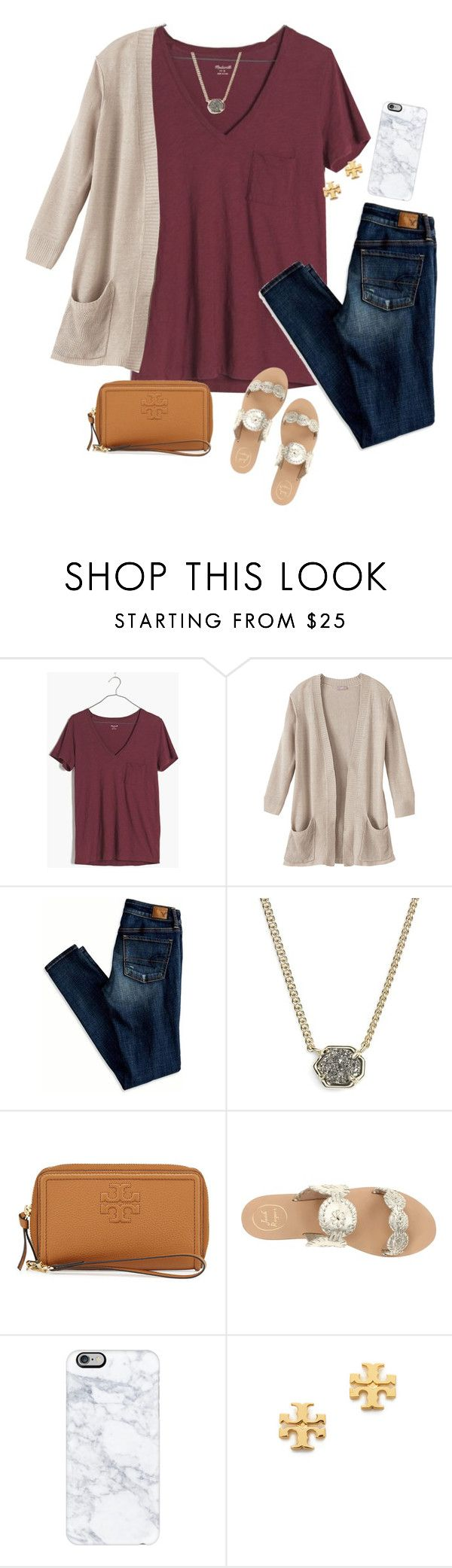 """we all have a story."" by isabella813 ❤ liked on Polyvore featuring Madewell, American Eagle Outfitters, Kendra Scott, Tory Burch, Jack Rogers and Casetify"