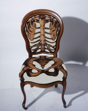 Sam Edkins Design. Anatomically Correct seats. Formal chair with a realistic skeleton drawing.  Very creative and whimsical.