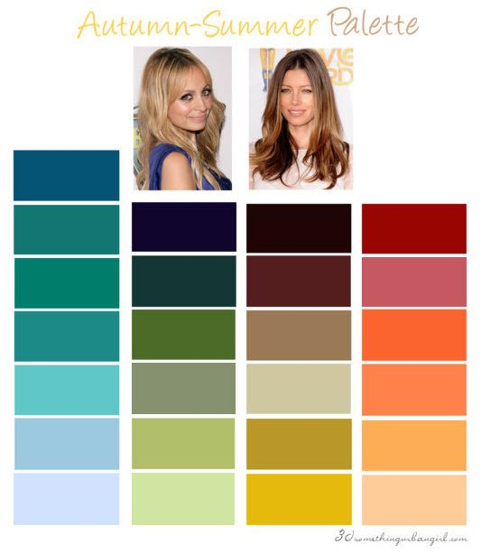 Soft Autumn color palette: You are an Autumn flowing into Summer. You have a 'mousy' - mix of warm and cool - coloring like Summer-Autumns have but with golden skin undertone. Your colors are warm and soft that make an elegant and delicate overall look.