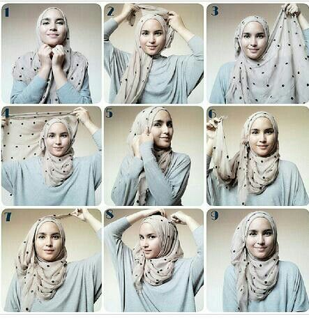 Hijab tutorial - a flowy look with volume. Will require 3 pins and can also be achieved with a shorter length scarf.