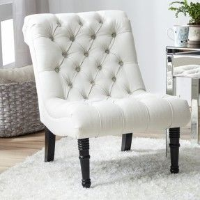 It is a chair that has got a tufted upholstery and cushioned seat and back, which provides an excellent seating comfort. It has got three finish options to choose: gray, ivory and oatmeal.