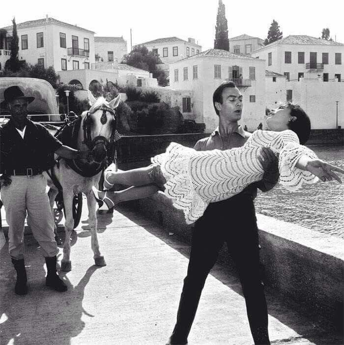 "1965 ~ Spetses, during the filming of the comedy ""Tzeni-Tzeni"""