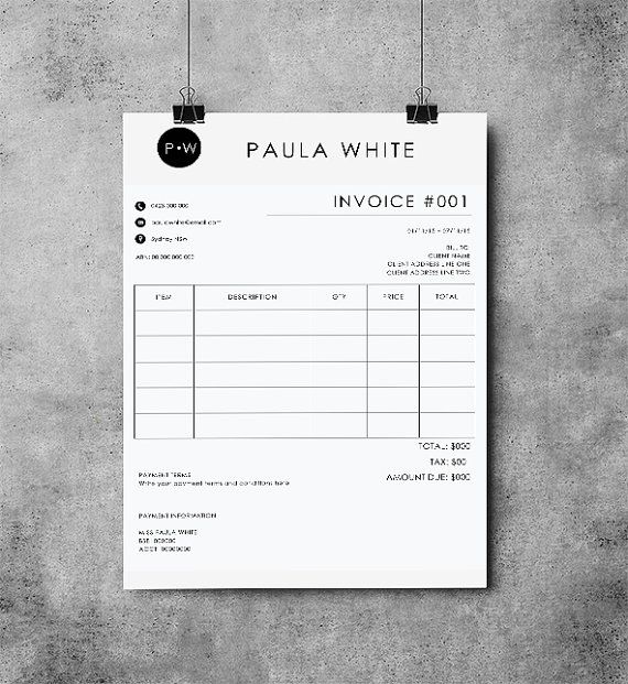 Invoice Template Receipt MS Word and Photoshop by EmandCoDesign