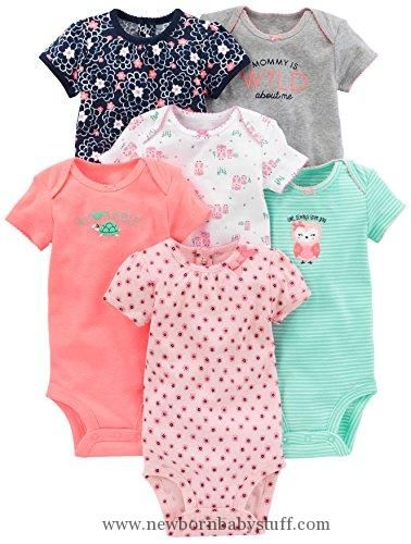 Baby Girl Clothes Simple Joys by Carter's Baby Girls 6-Pack Short-Sleeve Bodysuit, Pink/Mint, 0-3 Months