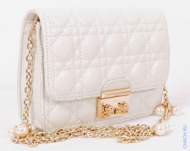 Сумочка Dior белая небольшая из мягкой натуральной кожи ягненка
