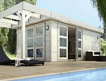 Abri bois à monter sur dalle beton - Kouvola 5.30x3.30x2.25H - Castorama 2890 Euros