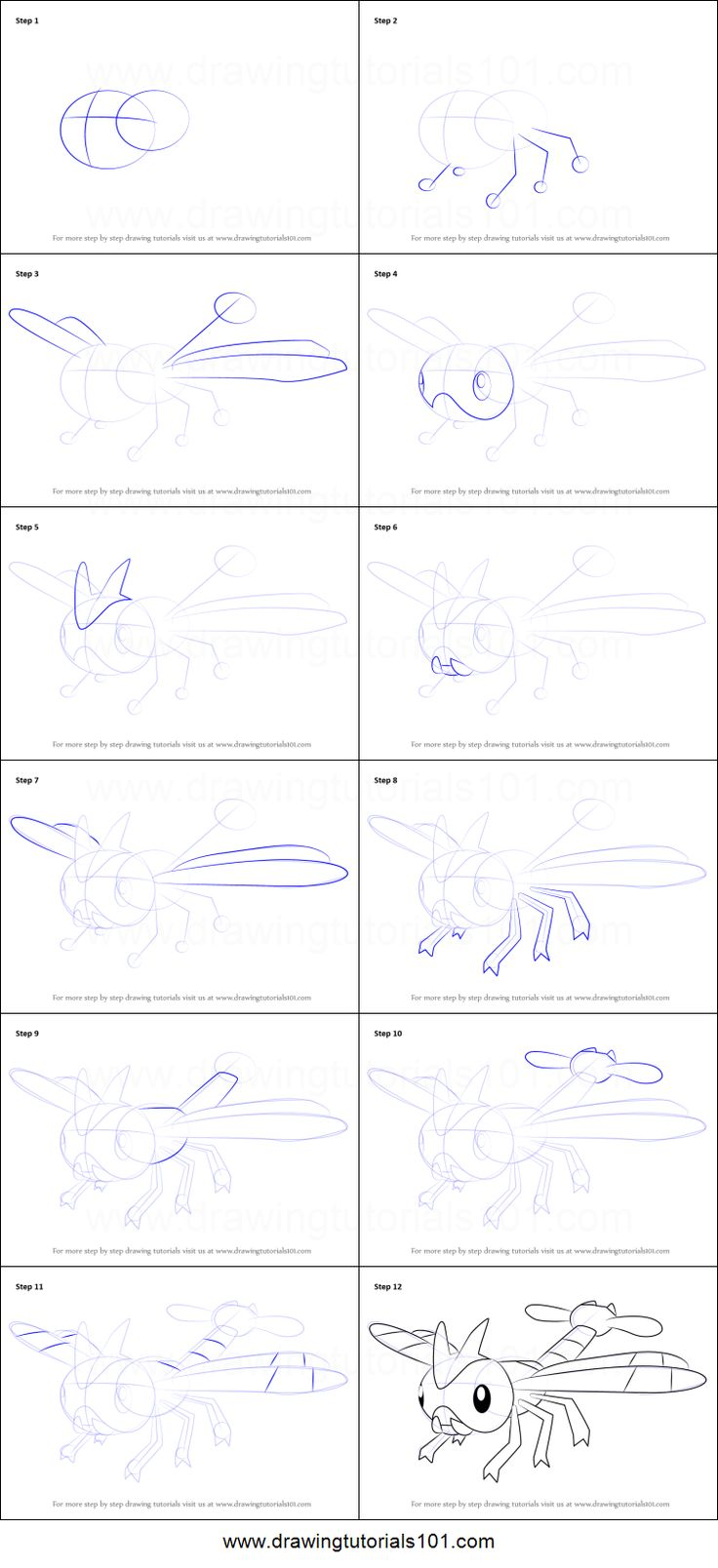 How to Draw Yanma from Pokemon printable step by step drawing sheet : DrawingTutorials101.com