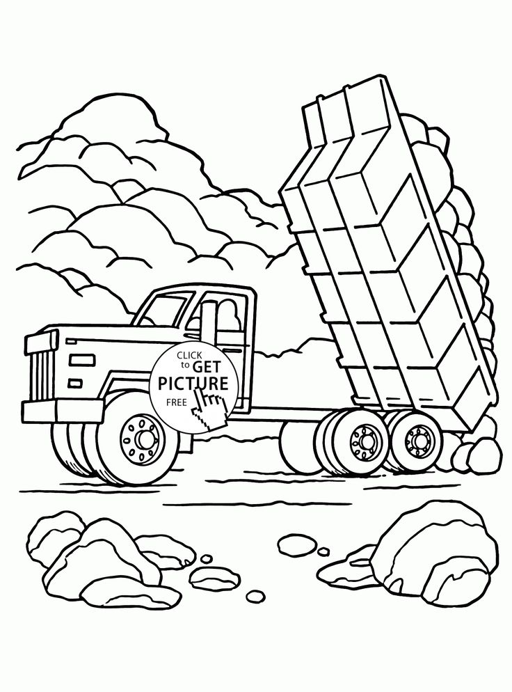 Dump Truck Load of Rocks coloring