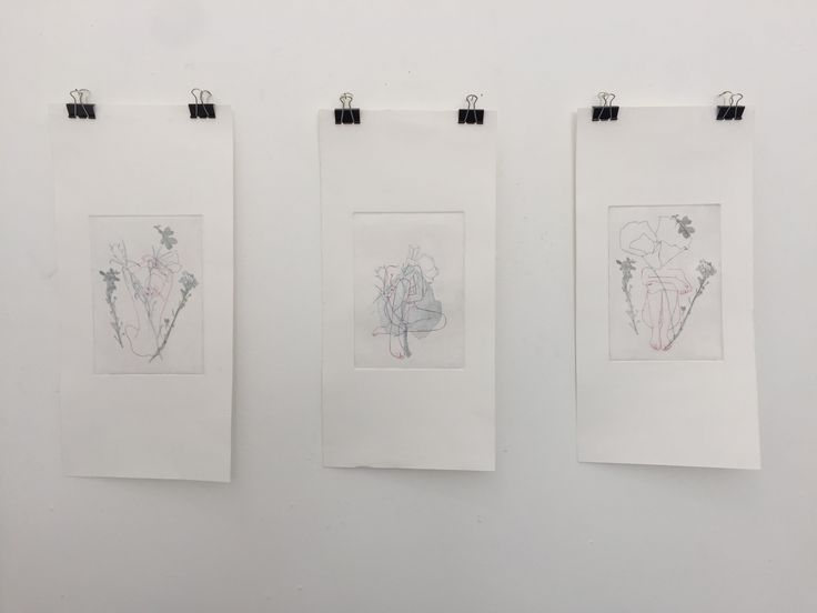 Caitlin Bath - layered multiple etchings - soft ground and hard ground. Organic forms and the figure.