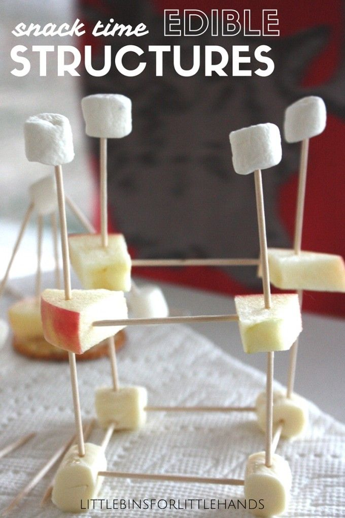 Edible structures snack time STEM activity for little engineers. Build structures with toothpick and apple, cheese, or marshmallows. A fun activity for kindergarten through grade school. Fun edible science activity too.