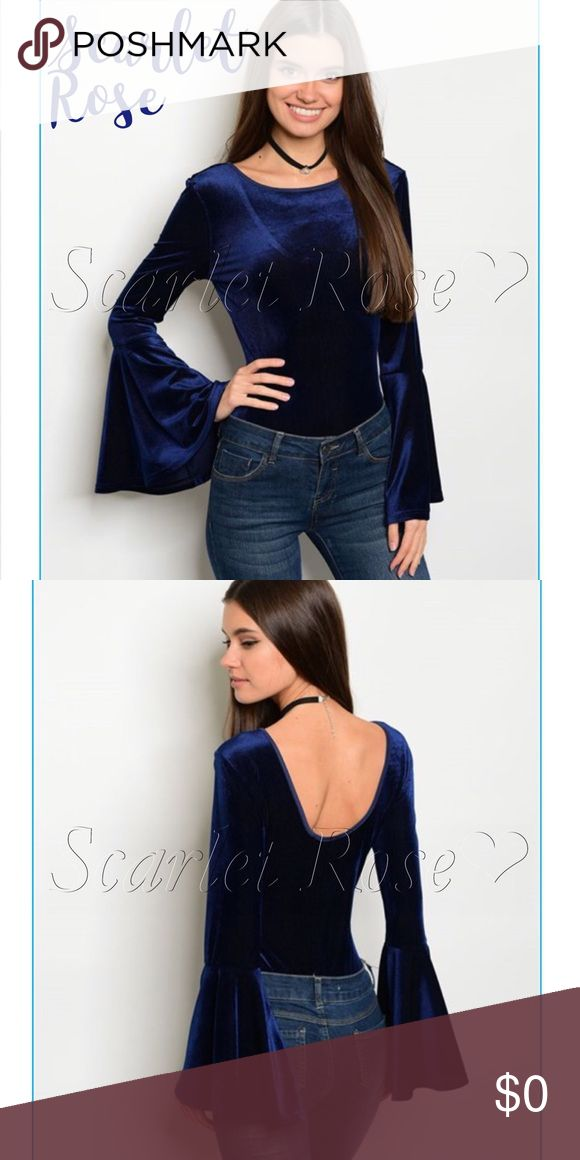 Vibrant Navy Velvet Bodysuits w/Bell Sleeves These Vibrant Navy Velvet Bodysuits with Bell Sleeves are FANTASTIC! They have a really cool ribbed velvet pattern and are ultra-soft and stretchy. I never used to be a fan of bodysuits until I finally tried one, and I love them! There's no effort whatsoever in getting them on and pairing with jeans, pants,  or leggings, and you have a fabulous outfit just like that! Accessorize these babies, and you are ready to rock the town! Price is firm…