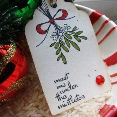 Meet Me Under the Mistletoe Holiday Gift Tag Set of 6. $3.50, via Etsy.