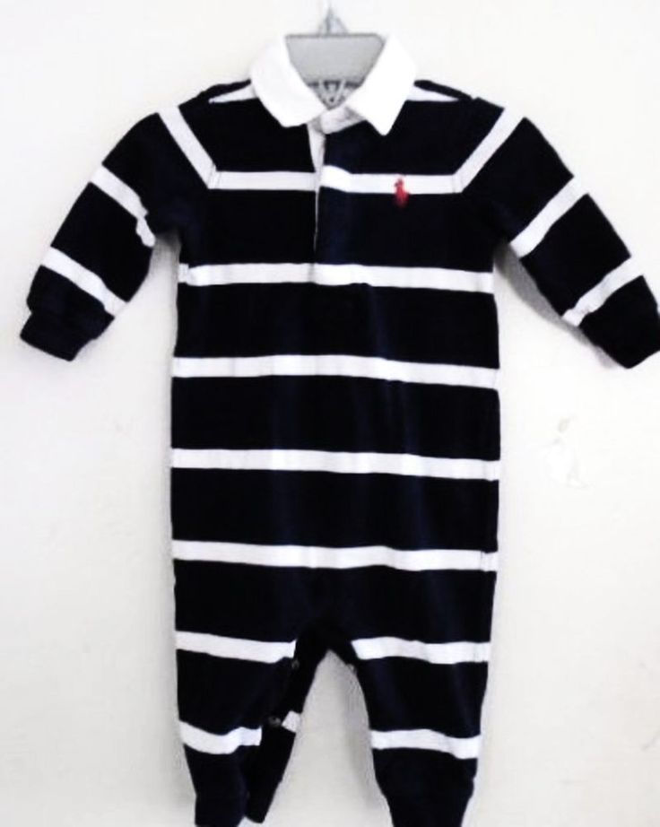 RALPH LAUREN Baby Boy Outfit Blue White Stripes Polo 6 Months Long Sleeves EUC #RalphLauren #Casual