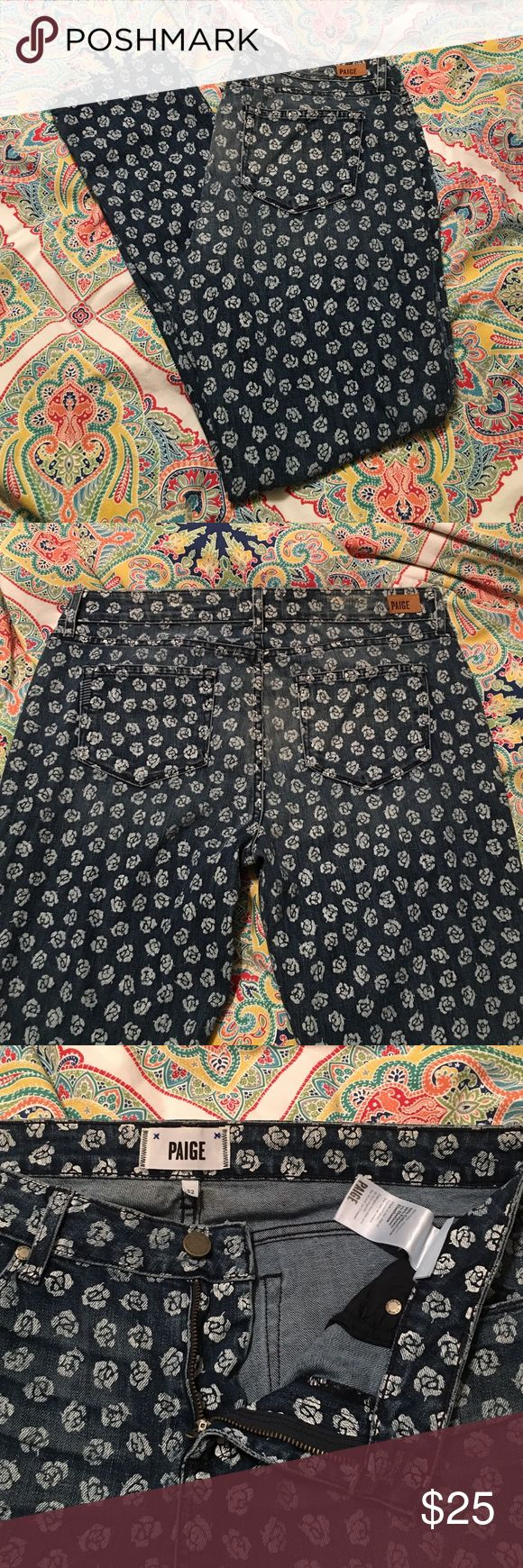 """Paige Rose Print Skinny Jeans Paige Rose Print Skinny Jeans in size 32. Style """"Skyline Ankle Peg"""". New, never worn. Button and zip closure. Paige Jeans Jeans Skinny"""