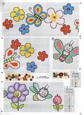Bordo fiori farfalle api baby punto croce