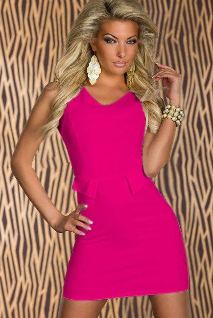 Trendy Mock-pocket Bodycon Dress Rose