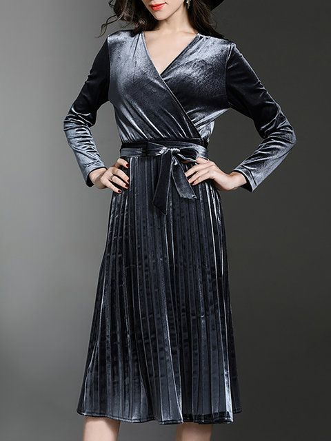 6eec1b4c4db16 Online Shopping Gray Elegant Wrap V neck Pleated Velvet Midi Dress with  Belt, The Best Party Midi Dresses. Discover unique designers fashion at ...