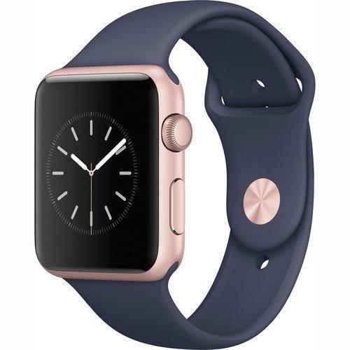 Apple Watch Series 1 42mm Smartwatch, Rose Gold Aluminum Case, Midnight Blue Sport Band