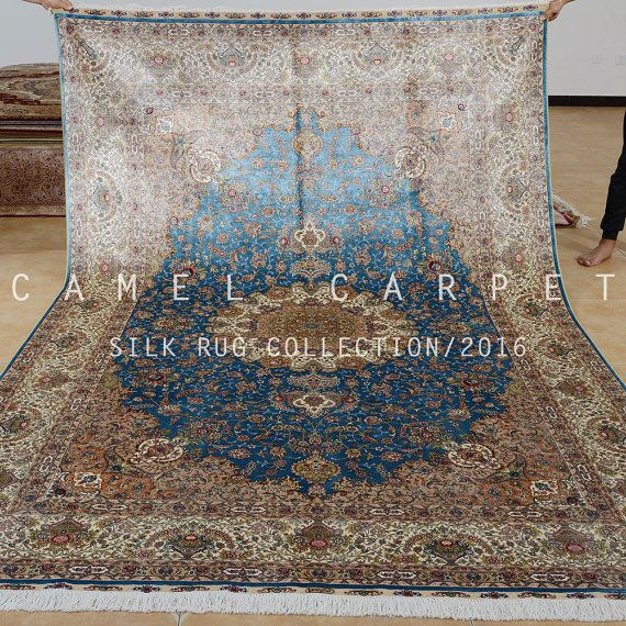 blue traditional area rug natural silk on silk by Camelcarpet