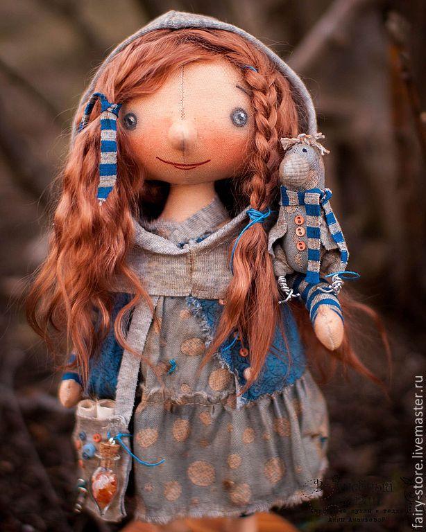 Купить Лесная Колдунья - синий, кукла ручной работы, кукла, кукла в подарок, кукла текстильная