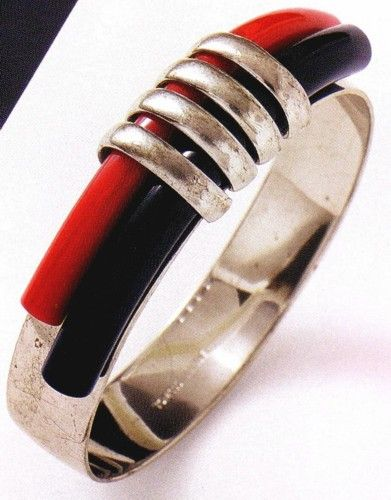 Jakob Bengel Art Deco Chromium-plated Galalith Bangle Bracelet (marked 'Tchechoslovaquie') 1933