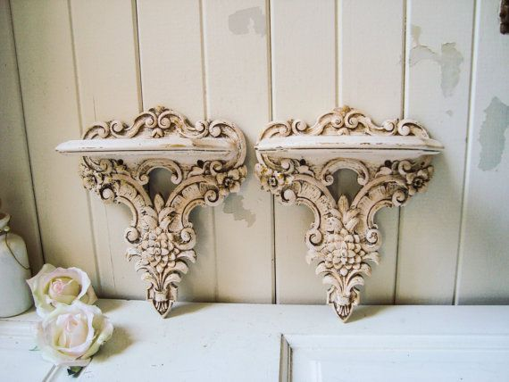 Vintage Pink Ornate Wall Sconce Shelves Pair By