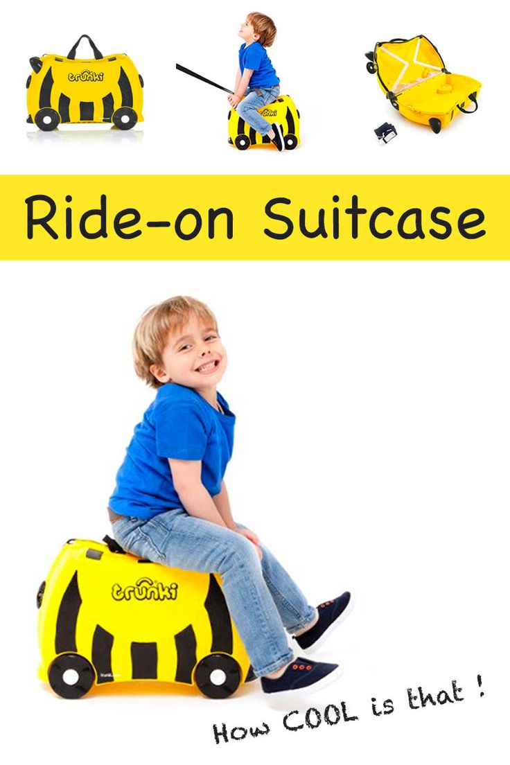 Best kids suitcase ever. This ride-on, tow-along, carry-on suitcase is ideal for family vacations and short trips. It's perfect when flying with kids and helps to keep them busy at the airport! We bought 3 - one for each of our kids.