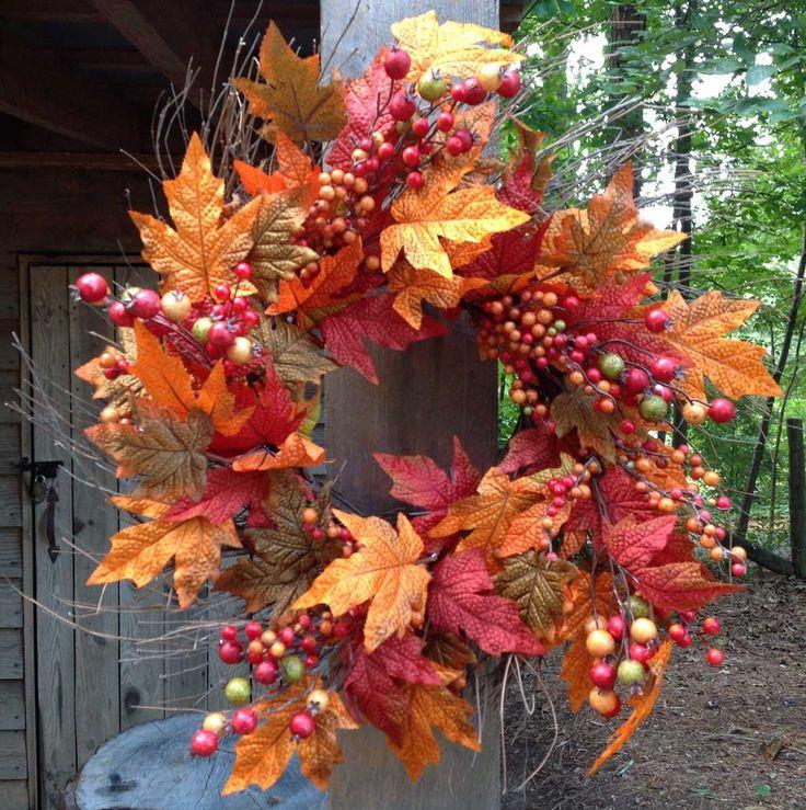 """Fall Berry Leaf Wreath 22"""""""""""