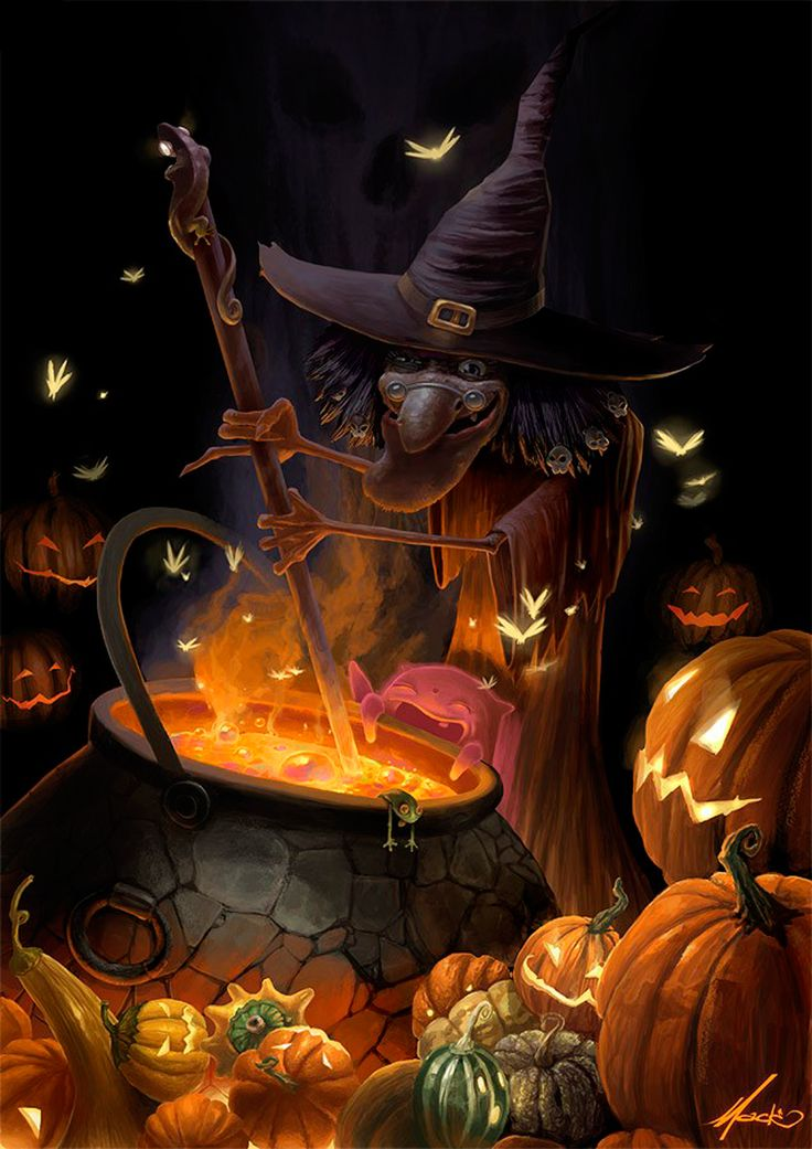 halloween art magical witch u0026 cauldron