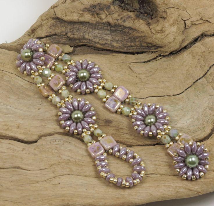 SUPERDUO CZECHMATE TILE Bracelet-Light Amethyst-Light Olive-SuperDuo Beaded Flower-Opaque Gold Smoky Topaz-Miyuki Seed Beads-(SD116)