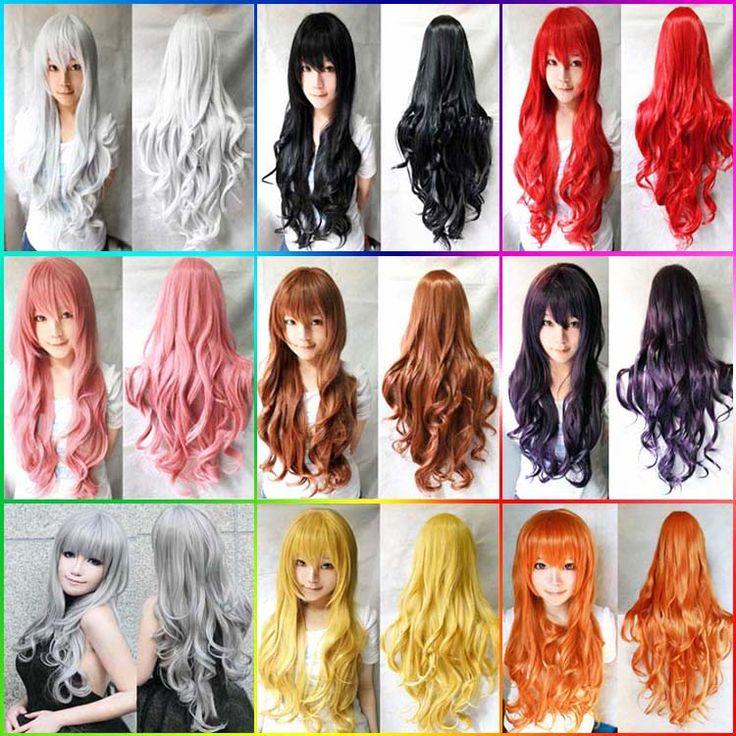 80cm blanco negro rosa 12colors pelucas del partido del anime cosplay largo ondulado, peluca peruca traje barato de calidad chica lolita pelo sintético