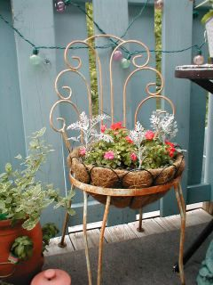 Vintage Iron Chair Converted to Planter