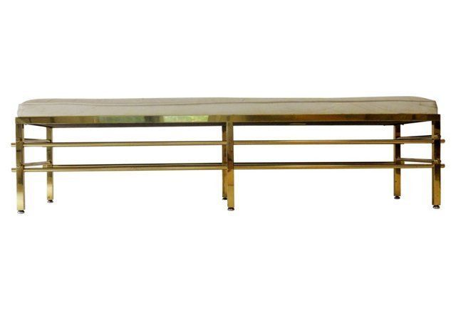 Midcentury Bench in Brass & Leather