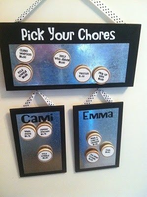 Chores chart.  Great way to show how to earn extra $.