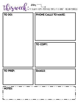 Keep your week organized with this free Peek at the Week Printable! -To Do List - To Call - Emails - To Prep - Notes This one page printable is perfect for your desk or teacher binder. Download and print for free! If you love it, leave a comment and check out the rest of Burke Work on my TPT store!