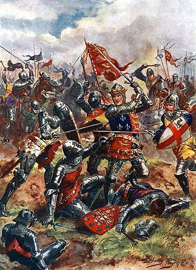 """Is the Agincourt of popular image the real Agincourt, or is our idea of the battle simply taken from Shakespeare's famous depiction of it?"" (Image: King Henry V at the Battle of Agincourt by Harry Payne. Public domain via Wikimedia Commons.)"