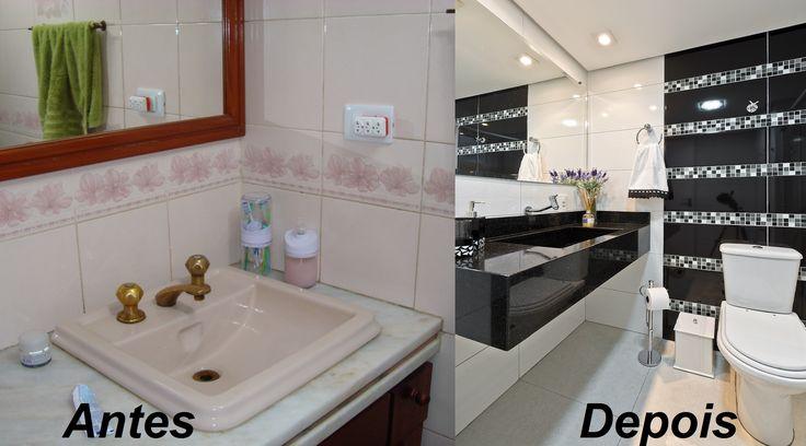 Na primeira imagem o Banheiro Social  antes da Reforma. Na segunda imagem, o Banheiro após a reforma com porcelanato preto e branco e mix de pastilhas com cuba esculpida.