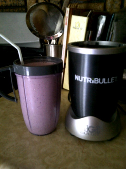 http://www.thenutribulletpro.co.uk My breakfast! Strawberry, banana, blueberry, and skim milk smoothie! Think I'm in love with my #NutriBullet!