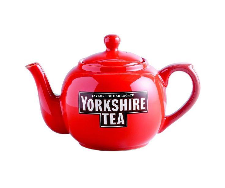 YORKSHIRE TEA TEAPOT Tea Pot Red Porcelain 1 Litre 4 Mugs Kitchen Harrogate
