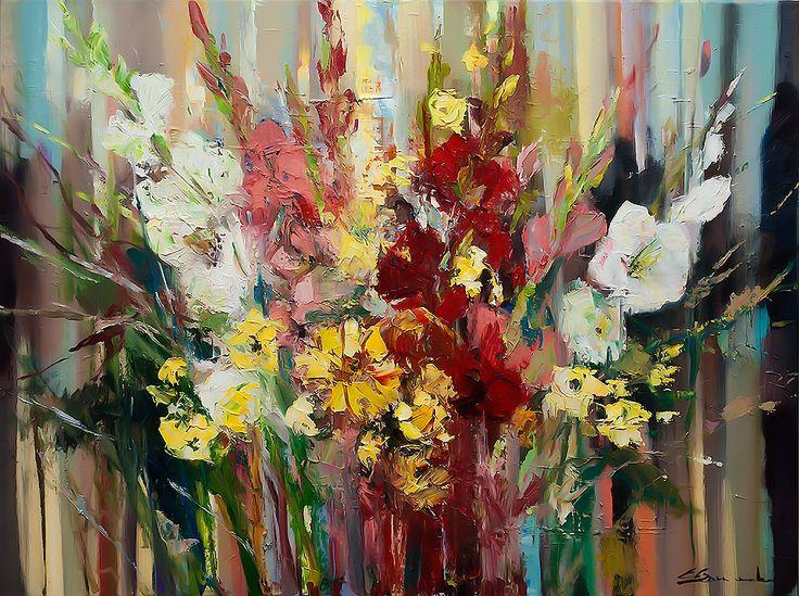 'Gladiolus bouquet', Oil painting by Ewa Czarniecka