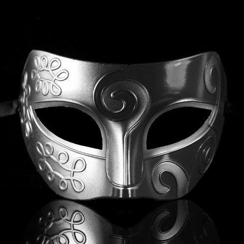 Men's Mask: lucky Retro Roman Gladiator Halloween Party Facial Masquerade Mask - Silver & Black lucky-biz